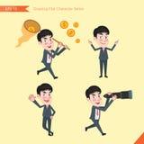 Sistema de dibujar el estilo de carácter plano, actividades jovenes del oficinista del concepto del negocio ilustración del vector
