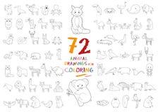 Sistema de 72 dibujos animales para colorear Fotografía de archivo libre de regalías