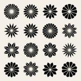 Sistema de dieciséis elementos negros del diseño de la forma de la estrella del pétalo de la flor blanca del vector Imagen de archivo libre de regalías