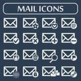 Sistema de dieciséis iconos del correo del vector para el web Fotografía de archivo libre de regalías