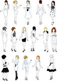 Sistema de dieciséis maniquíes en los vestidos de cóctel blancos Imágenes de archivo libres de regalías