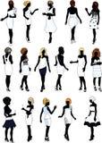 Sistema de dieciséis siluetas en los vestidos de cóctel blancos con el peinado Fotos de archivo libres de regalías