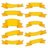 Sistema de diez cintas y banderas amarillas para el diseño web Fotografía de archivo libre de regalías