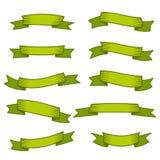 Sistema de diez cintas y banderas verdes para el diseño web Imágenes de archivo libres de regalías