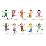 Sistema de diez niños felices con el ejemplo del vector de posición del salto ilustración del vector