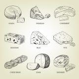 Sistema de diferentes tipos de queso gráfico Foto de archivo