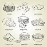 Sistema de diferentes tipos de queso gráfico Bosquejo realista del vector con el producto lácteo Foto de archivo