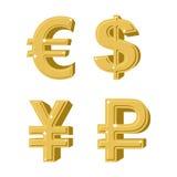 Sistema de dinero de oro de los símbolos Rublo rusa Efectivo europeo euro stock de ilustración