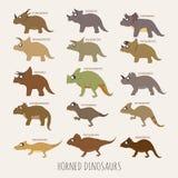 Sistema de dinosaurios de cuernos ilustración del vector