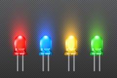 Sistema de diodos electroluminosos coloreados con el efecto que brilla intensamente, colección del LED libre illustration