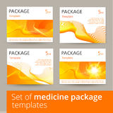 Sistema de diseño de paquete de la medicina con 3d-template ilustración del vector