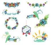 Sistema de diseños con los hibiscos, loro, mariposa en tema tropical Fotografía de archivo