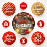 Sistema de diseños de la Navidad Foto de archivo
