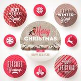 Sistema de diseños de la Navidad Imagen de archivo