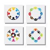 Sistema de diseños del logotipo de empleados en círculos - vector los iconos Foto de archivo libre de regalías