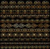Sistema de diseños del vintage de oro Foto de archivo libre de regalías