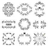 Sistema de diseños diseñados retros negros del ornamental Foto de archivo libre de regalías
