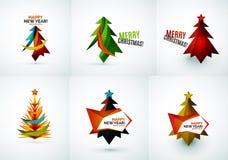 Sistema de diseños geométricos del árbol de navidad Foto de archivo libre de regalías