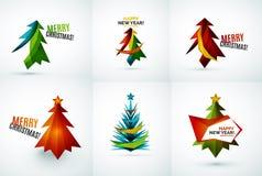 Sistema de diseños geométricos del árbol de navidad Fotografía de archivo libre de regalías