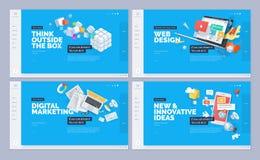 Sistema de diseños de la plantilla del sitio web stock de ilustración