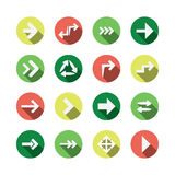 Sistema de diseños planos del icono de la flecha Fotos de archivo libres de regalías
