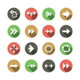 Sistema de diseños planos del icono de la flecha Fotografía de archivo