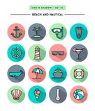 Sistema de diseño plano, de sombra larga, de línea fina playa y de ico náutico Fotografía de archivo