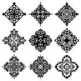 Sistema de diseños del ornamental del extracto del gráfico de vector Foto de archivo libre de regalías