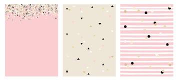 Sistema de 3 disposiciones del vector del extracto de Varius Diseño rosado, beige y negro dibujado mano linda del color Foto de archivo libre de regalías