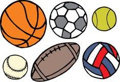 Sistema de diversas bolas del deporte Vector Fotografía de archivo