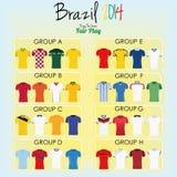 Sistema de diversas camisas del uniforme del fútbol del fútbol Foto de archivo