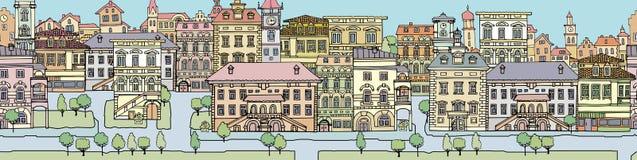 Sistema de diversas casas viejas del color y de la forma
