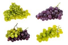 Sistema de diversas composiciones de las uvas blancas y negras Imagen de archivo