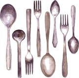 Sistema de diversas cucharas y bifurcaciones Fotografía de archivo
