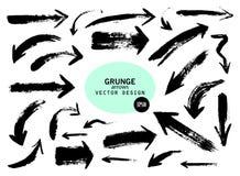 Sistema de diversas flechas del cepillo del grunge, indicadores Objeto dibujado mano de la pintura para el uso del diseño libre illustration