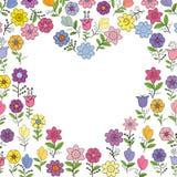 Sistema de diversas flores de la primavera Corazón invertido Elementos individuales aislados en un fondo blanco foto de archivo