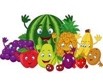 Sistema de diversas frutas divertidas de la historieta ilustración del vector