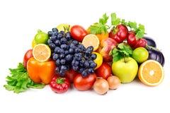 Sistema de diversas frutas y verduras Foto de archivo libre de regalías