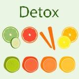 Sistema de diversas frutas y verduras del detox Imagen de archivo libre de regalías