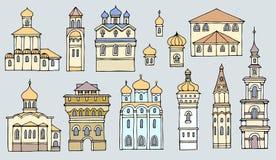 Sistema de diversas iglesias ortodoxas viejas de las fachadas del color y de la forma, l Foto de archivo libre de regalías