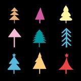 Sistema de diversas muestras de los árboles de navidad Foto de archivo libre de regalías