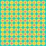 Sistema de 100 diversas multimedias planas coloreadas de moda, social y Imágenes de archivo libres de regalías