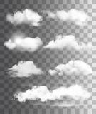 Sistema de diversas nubes transparentes Vector