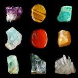 Sistema de diversas rocas y piedras minerales foto de archivo libre de regalías