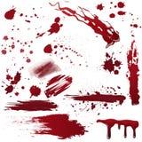 Sistema de diversas salpicaduras de la sangre o de la pintura Ilustración realista del vector Foto de archivo libre de regalías