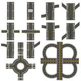 Sistema de diversas secciones de camino con un aislamiento circular del dvizheniemi Transiciones, vueltas y diversas interseccion Imagen de archivo
