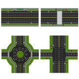 Sistema de diversas secciones de la carretera con un dvizheniemi circular, Aceras de la imagen, carriles de la transición para Imágenes de archivo libres de regalías