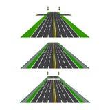 Sistema de diversas secciones del camino con las intersecciones, los carriles de la bici, las aceras y las intersecciones Imagen  Fotografía de archivo