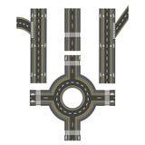 Sistema de diversas secciones del camino, transición Trayectorias, aceras e intersecciones de la bici Ilustración Imagenes de archivo