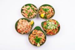 Sistema de diverso arroz frito cinco Fotografía de archivo